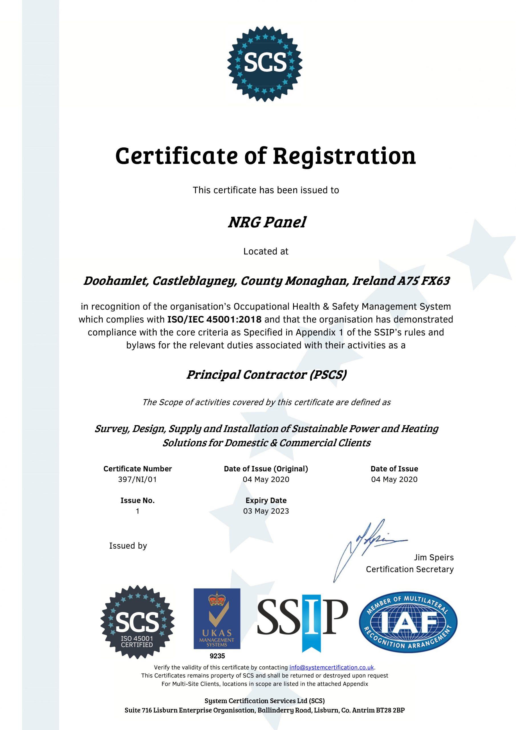 iso accreditation - nrg panel