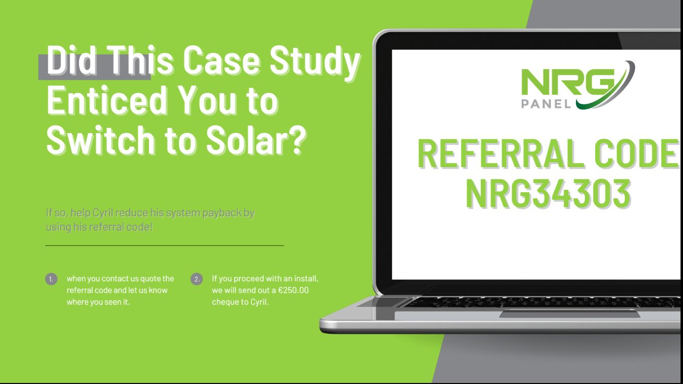 SOLAR PANELS DUBLIN – CASE STUDY 2021 – CYRIL TREACY - NRG PANEL 3